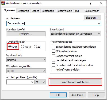 Archiefformaat selecteren en wachtwoord instellen knop in WinRAR