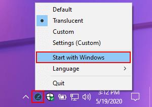 Ashampoo Taskbar Customizer met Windows laten opstarten