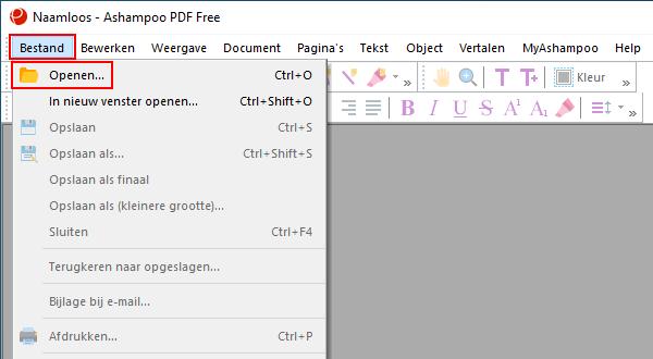 Bestand openen menu item in Ashampoo PDF Free