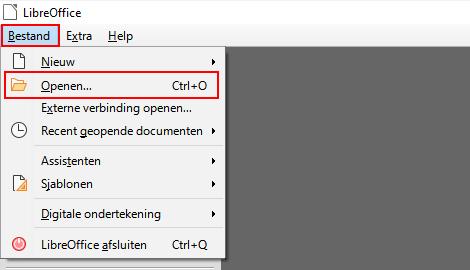 Bestand openen menu-item in LibreOffice