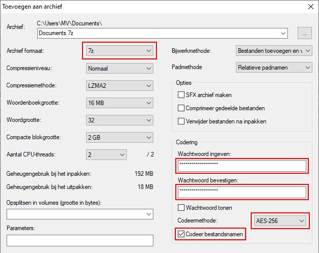 Bestanden of mappen beveiligen met een wachtwoord met 7-Zip