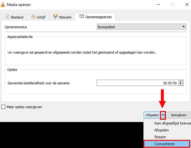 Converteren optie in VLC mediaspeler