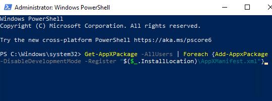 De Get-AppXPackage opdracht in Windows PowerShell