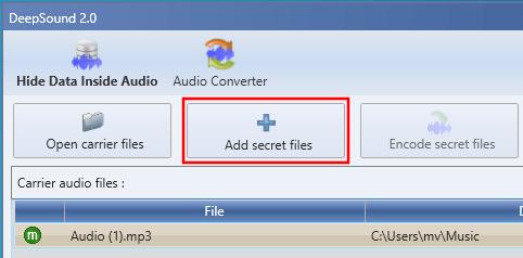 DeepSound Add secret files knop