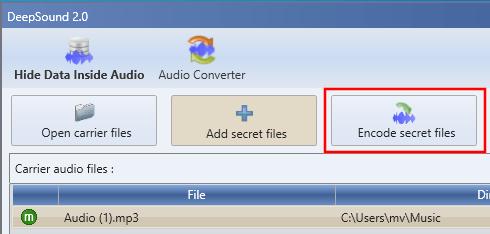 DeepSound Encode secret files knop