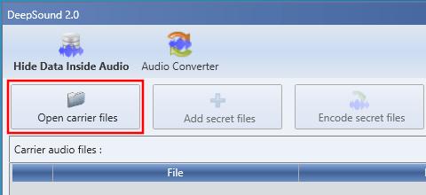DeepSound Open carrier files knop