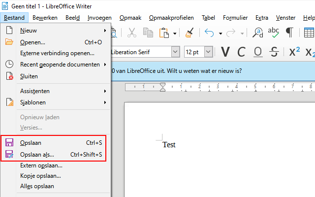 Document opslaan in LibreOffice
