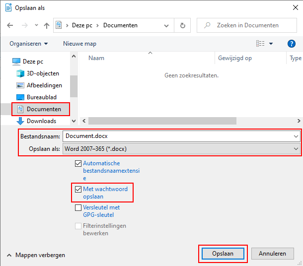 Document opslaan met wachtwoord in LibreOffice