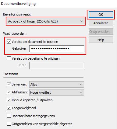 Documentbeveiliging venster in Ashampoo PDF Free