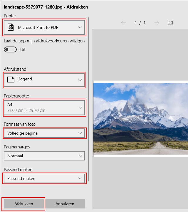 Afbeelding converteren naar PDF in Windows 10 met behulp van de Foto's-app