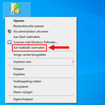 Een map vastmaken aan de taakbalk in Windows 10