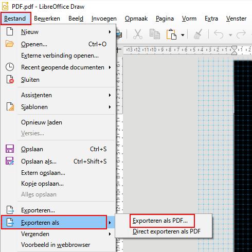 Exporteren als PDF menu item in LibreOffice