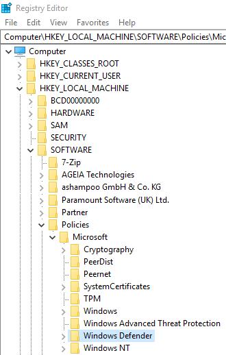 Ga naar Windows Defender in de Registry-editor