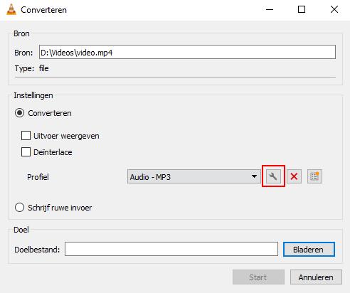 De Geselecteerd profiel bewerken knop in VLC mediaspeler