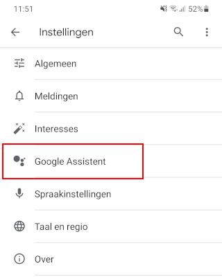 Google Assistent instellingen openen