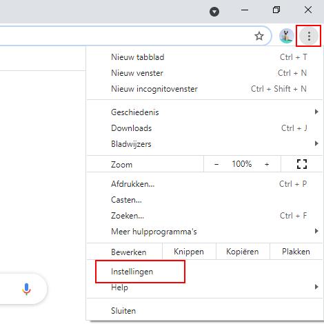 Google Chrome instellingen openen