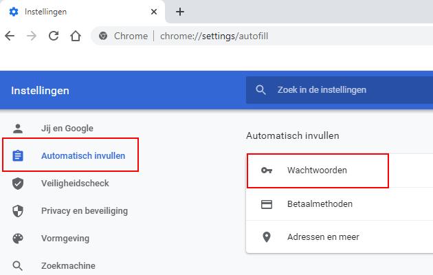 Google Chrome wachtwoorden openen