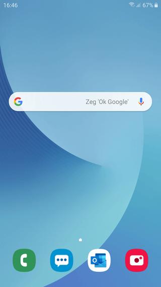 Google zoekbalk terugzetten op het startscherm van een Samsung Galaxy