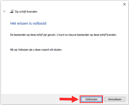 Herschrijfbare CD of DVD wissen in Windows 10