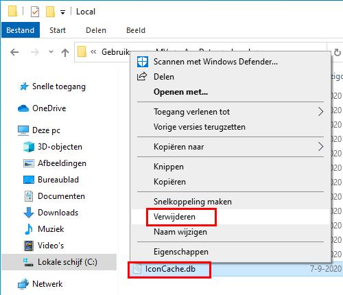 Het IconCache.db bestand verwijderen