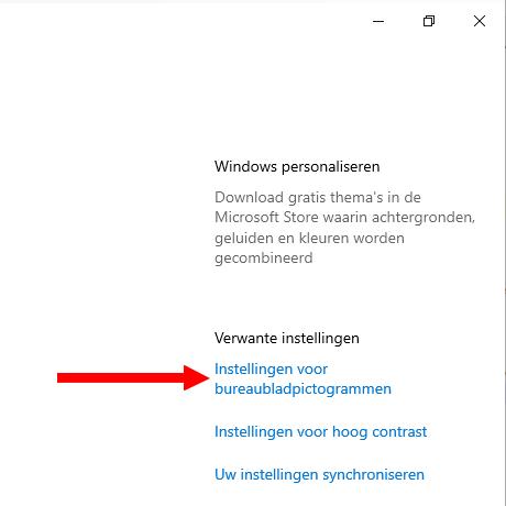 Instellingen voor bureaubladpictogrammen openen in Windows 10