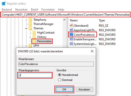 Kleur van alleen de taakbalk veranderen in Windows 10
