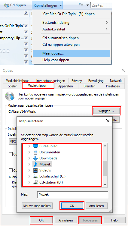 Locatie wijzigen in Windows Media Player