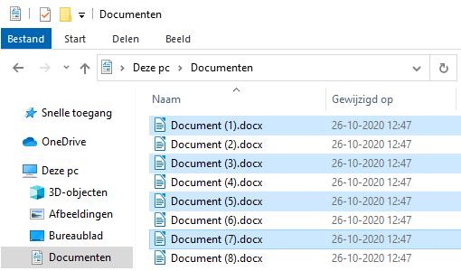 Meerdere bestanden selecteren in Windows 10 Verkenner