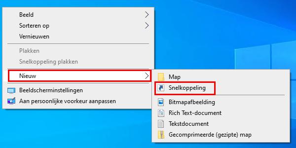 Een nieuwe snelkoppeling maken op het bureaublad in Windows 10