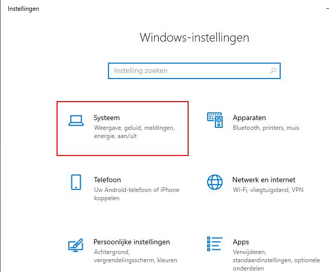 Open Systeem instellingen in Windows 10
