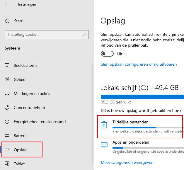 Opslag instellingen in Windows 10