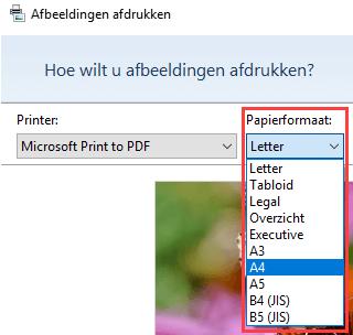 Papierformaat selecteren in het Afbeeldingen afdrukken venster in Windows 10