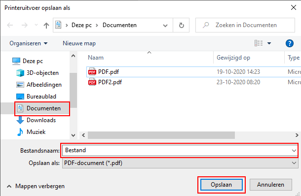 PDF-bestand met afbeelding opslaan in Windows 10