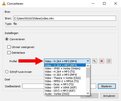 Profile keuzemenuknop in VLC mediaspeler