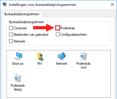 Prullenbak verwijderen van bureaublad in Windows 10