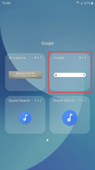 Samsung Galaxy Google zoekbalk
