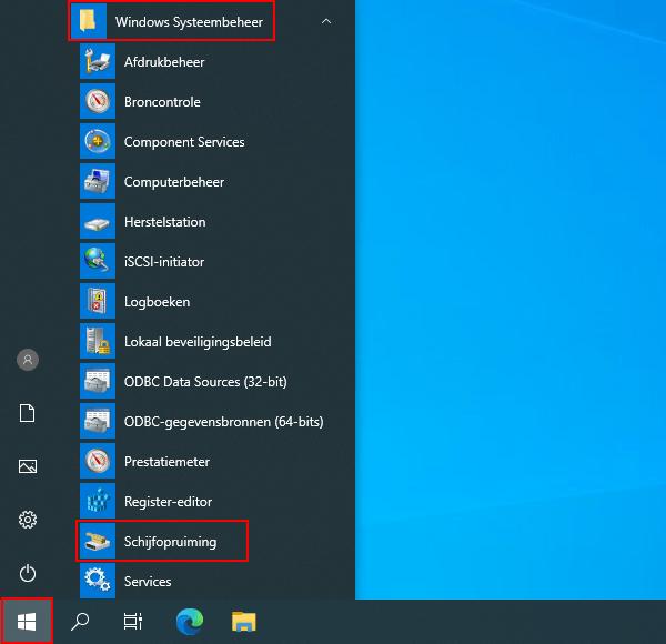 Schijfopruiming openen in Windows 10