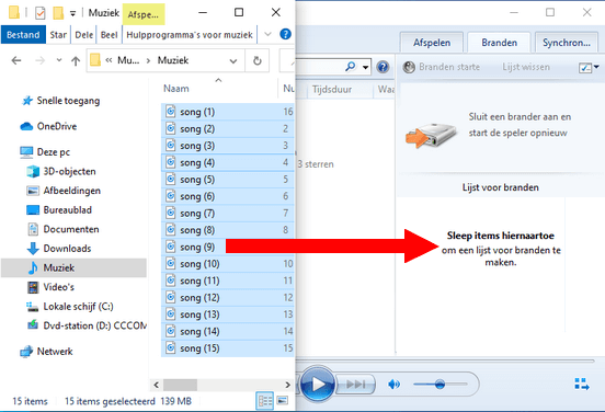 Sleep MP3-bestanden van Windows Verkenner naar Windows Media Player