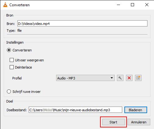 Start knop in VLC mediaspeler