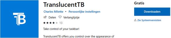 TranslucentTB in de Microsoft Store