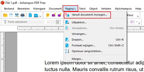 Vanuit document invoegen menu item in Ashampoo PDF Free