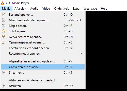 VLC Converteren/opslaan optie