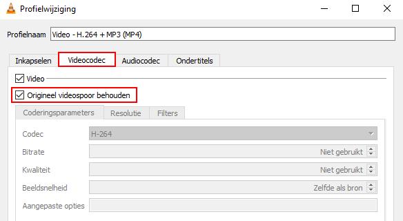 VLC videocodec instellingen