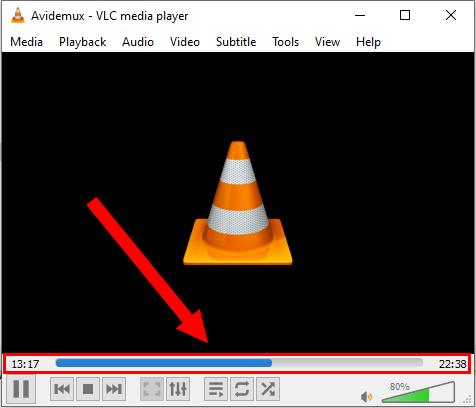 Voortgangsbalk in VLC mediaspeler