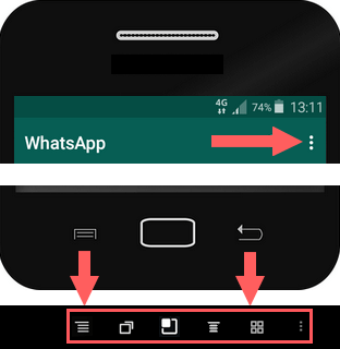 WhatsApp menu knoppen