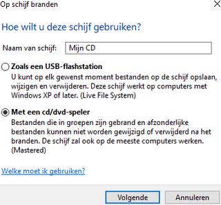 Windows 10 Op schijf branden venster