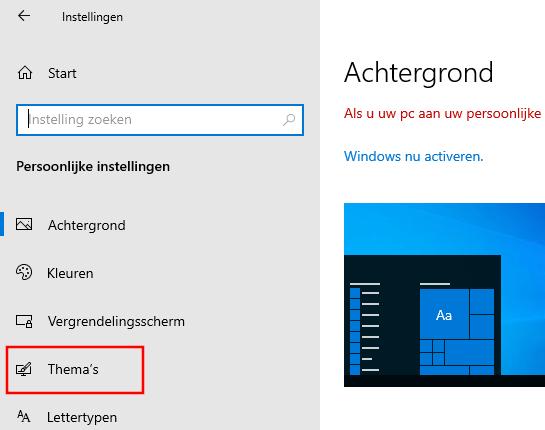 Windows 10 thema instellingen