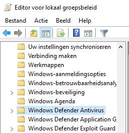 Windows Defender Antivirus in de Editor voor lokaal groepsbeleid