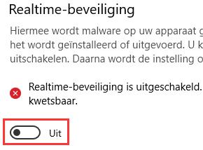 Windows Defender tijdelijk uitschakelen in Windows 10