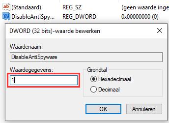 Windows Defender uitschakelen in Windows 10 met behulp van de Registry-editor